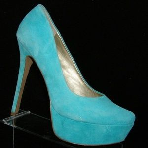Jessica Simpson 'Waleo' mint green suede heels 10B